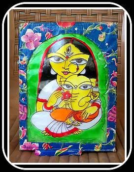 Durga with her son Ganesh by Juna Dutta