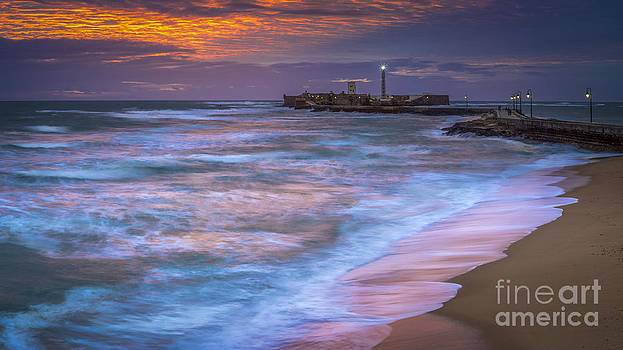 Dusk at La Caleta Beach Cadiz Spain by Pablo Avanzini