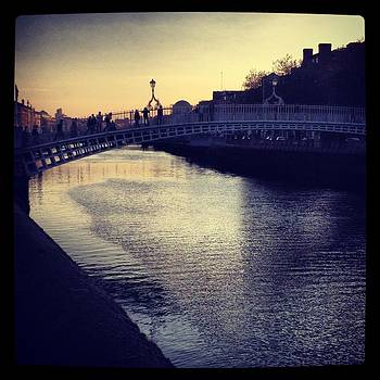 Dusk Haypenny Bridge Dublin by Maeve O Connell