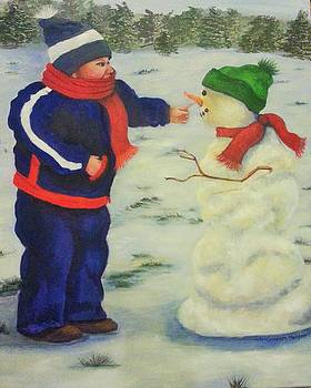 Dylan and Snowman by JoAnn Morgan Smith