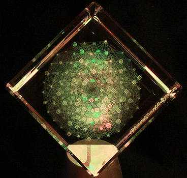 E8 Theory of Everything Laser Etched in Optical Crystal by J Gregory Moxness