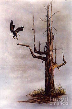 Eagle with Snag by Lynne Parker