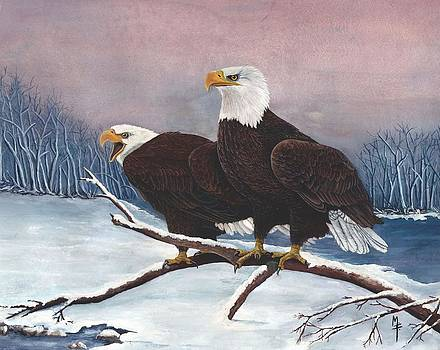 Eagles in the Snow by Marsha Friedman