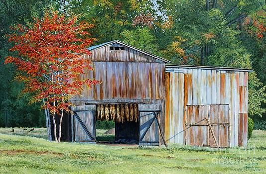 Early Autumn in Kentucky - Dark-fired Tobacco Barn by Phillip  Powell