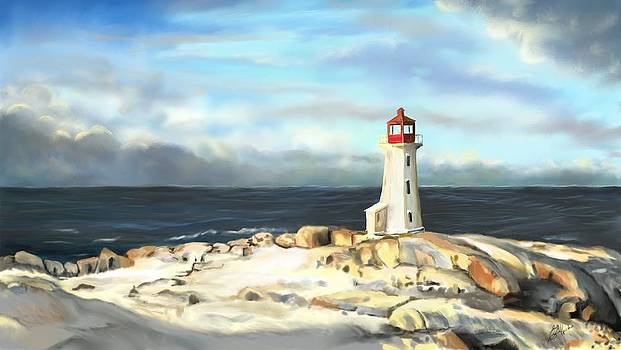 Early Morning Peggys Cove light by Edith Hicks