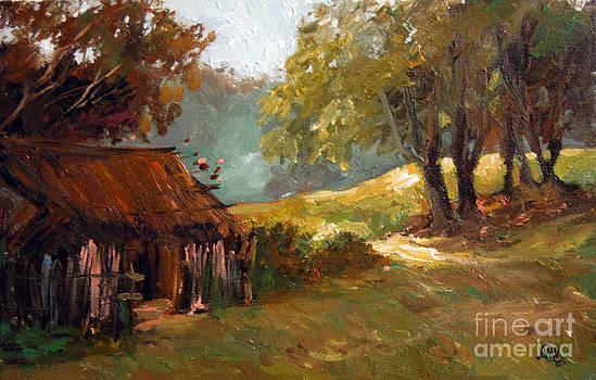 Early morning village scene by Aung Min Min