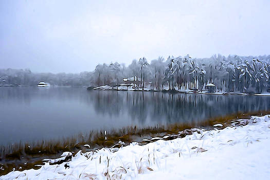 East Texas Lake in Winter - Illustration style by Charlie and Norma Brock