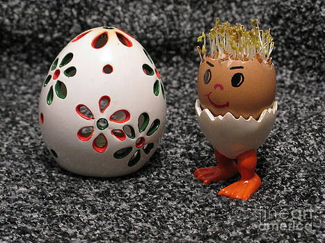 Easter Eggmen or Egg With Hair Series. 01 by Ausra Huntington nee Paulauskaite