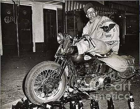 California Views Mr Pat Hathaway Archives - Eddie Davenport of Tulare California on a motorcycle Hollister  July 7 1947