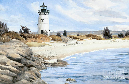 Edgartown Light - Marthas Vineyard by Steve Hamlin