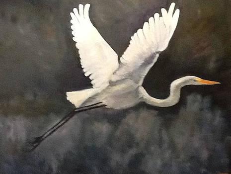 Egret In Flight by Albert Fendig