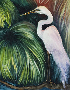 Egret in palms by Georgia Pistolis