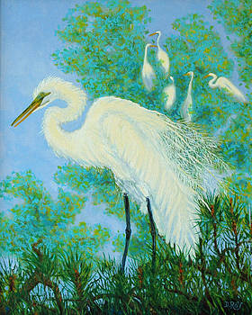 Egrets in Rookery - 20x16 by Dwain Ray