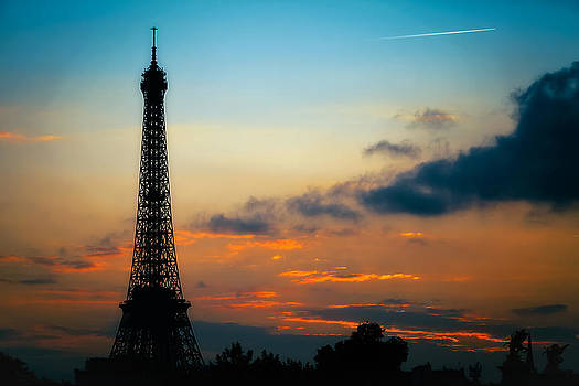 Eiffel Tower Sunset Contrail by Kirk Strickland