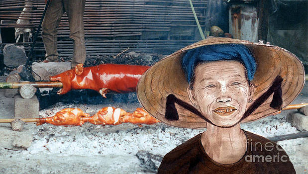 Elderly Vietnamese Woman Wearing a Conical Hat Altered Version by Jim Fitzpatrick
