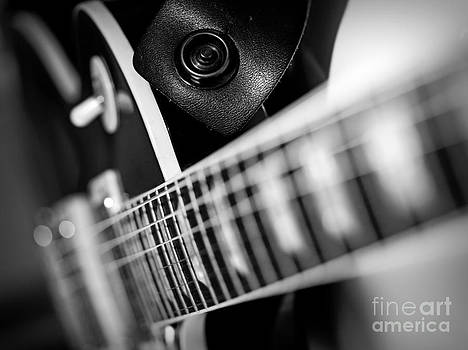 Electric guitar macro abstract black and white by Ron Sumners