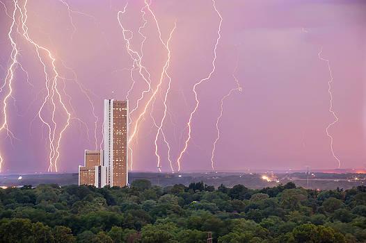 Electric Night - CityPlex Towers - Tulsa Oklahoma by Gregory Ballos