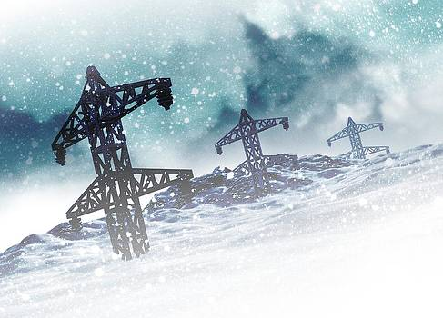 Electricity Pylons On Snow by Victor Habbick Visions