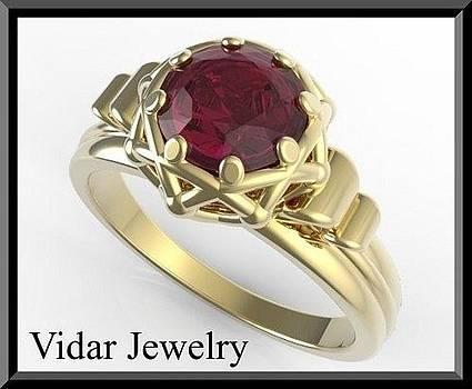 Elegant 14k Yellow Gold Ruby Engagement Ring by Roi Avidar
