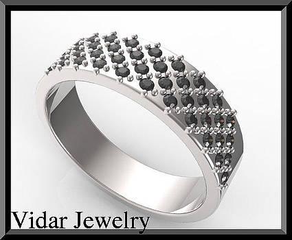 Elegant Black Diamond 14k White Gold Men Wedding Ring by Roi Avidar