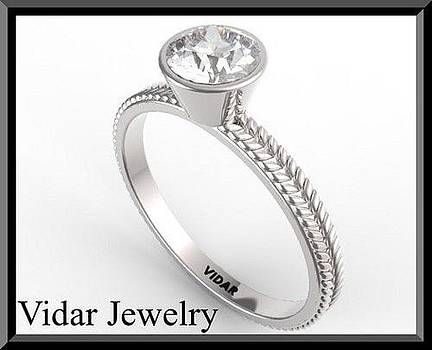 Elegant Diamond 14k White Gold Leaf Engagement Ring by Roi Avidar
