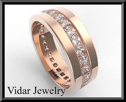 Elegant Eternity Diamond 14k Rose Gold Woman Wedding Ring by Roi Avidar