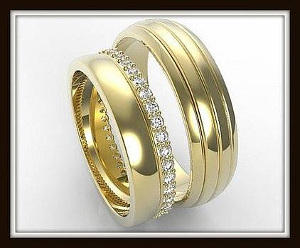 Elegant His And Hers 14K Yellow Gold Matching Wedding Bands Set  by Roi Avidar