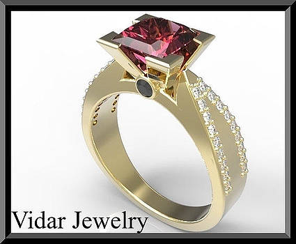 Elegant Red Ruby And Diamond 14k Yellow Gold Engagement Ring by Roi Avidar