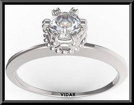 Elegant Round Diamond 14k White Gold Engagement Ring  by Roi Avidar