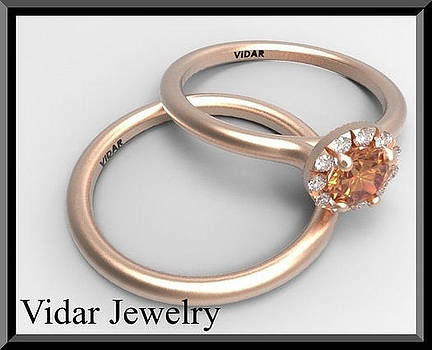 Elegant Sapphire And Diamond 14k Wedding Ring And Engagement Ring Set by Roi Avidar