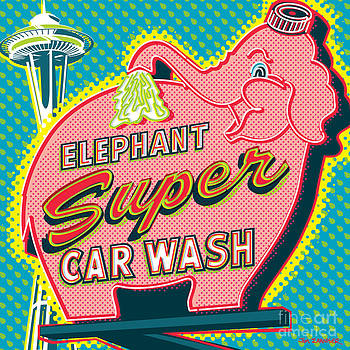 Elephant Car Wash and Space Needle - Seattle by Jim Zahniser