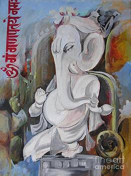 Elephant God painting by Chintaman Rudra