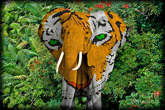 Elephant Tiger Abstract by Gary Keesler