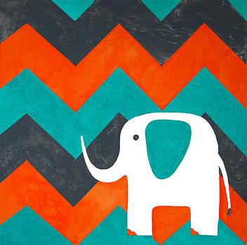 Elephant with Turquoise Chevron by Nicole Dietz