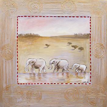 Elephants familly by Michal Shimoni