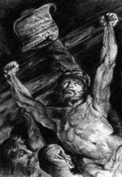 Elevation of the Cross charcoal study after Rubens by Pamela Humbargar