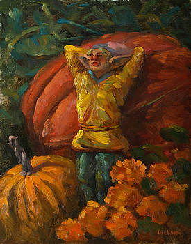 Elf in the pumpkin patch by Jeff Dickson