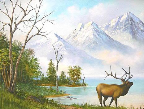 Elk at Mountain Lake by Vivian Eagleson