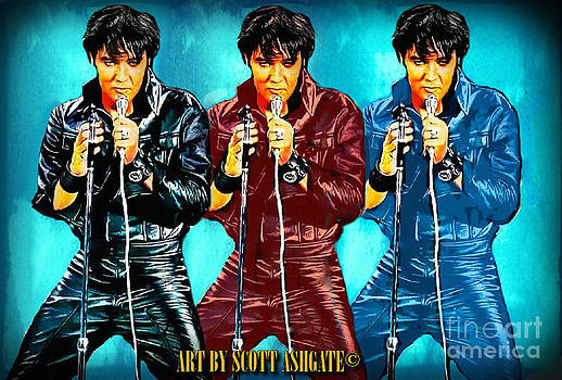 Elvis in Black Red and Blue... by Scott Ashgate