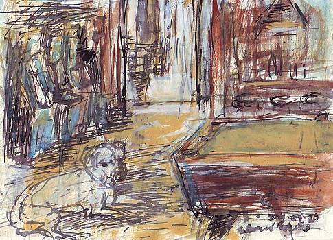 Empty Bar with Dog and Pool Table by Edward Ching