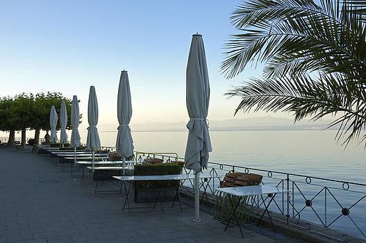 Empty promenade in the morning Meersburg Lake Constance by Matthias Hauser