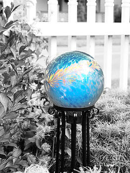 Enchanting  Blue Gazing Ball by Deborah Fay