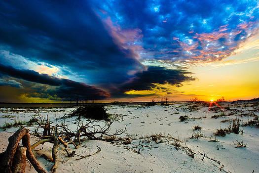 Encroaching Storm Landscape-Blue Clouds Sunset Beach by Eszra