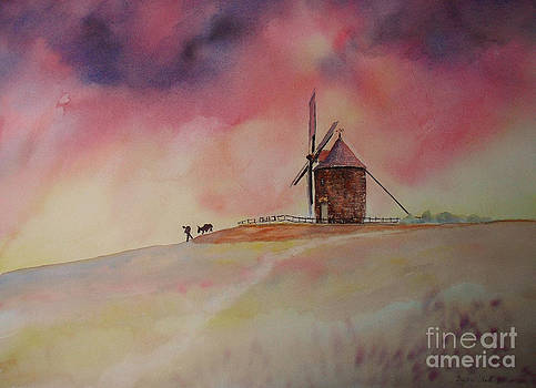End of the day Windmill of Moidrey by Beatrice Cloake