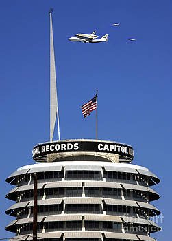 Endeavour Shuttle over Capitol Records Bldg- Hollywood- with Fighter Jets by Howard Koby