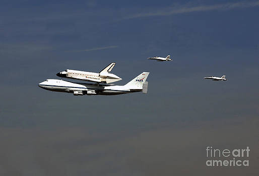 Endeavour Space Shuttle in LA With Escort Fighter Jets  by Howard Koby