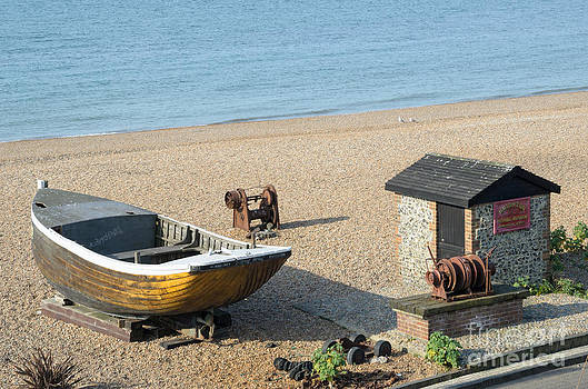 English Seaside History - Fishing Boat and Equipment on the Beach by David Hill