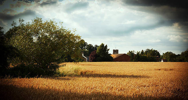 English Wheat field with Village by Chris  Clark