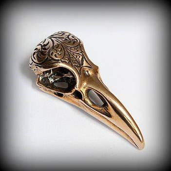 Engraved Raven Skull Pendant by Michael  Doyle