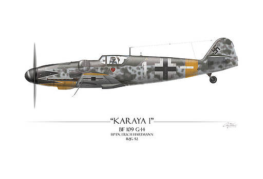 Erich Hartmann Messerschmitt Bf-109 - White Background by Craig Tinder
